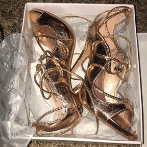 Shoes - Goddess lace up rose gold heels 2.5 inch